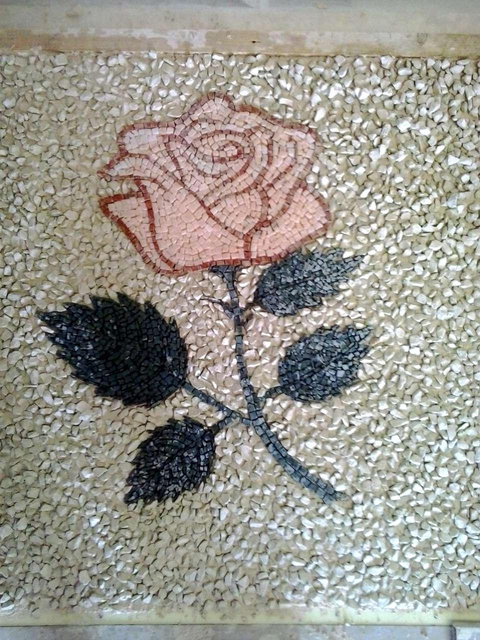 Favorito Rosa in mosaico su pavimento alla veneziana in marmo WG49